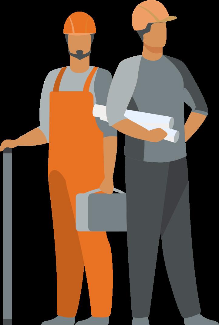 illustratie twee mannen in de bouw